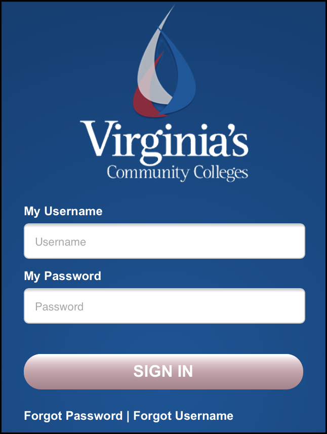 Screenshot of VCCS login screen