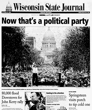 Front page of the Wisconsin State Journal, Oct 29, 2004