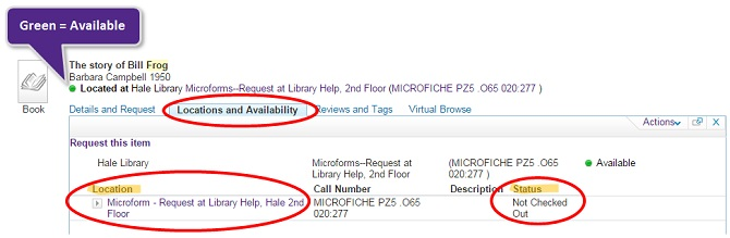 Image of Locations and Availability tab in Search It