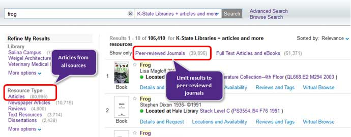 Refining search results on Search It by Resource Type: Articles