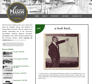 Screenshot of George Mason University History homepage