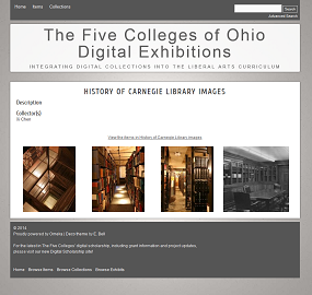 Screenshot of a collection page from the Five Colleges of Ohio Digital Exhibitions website