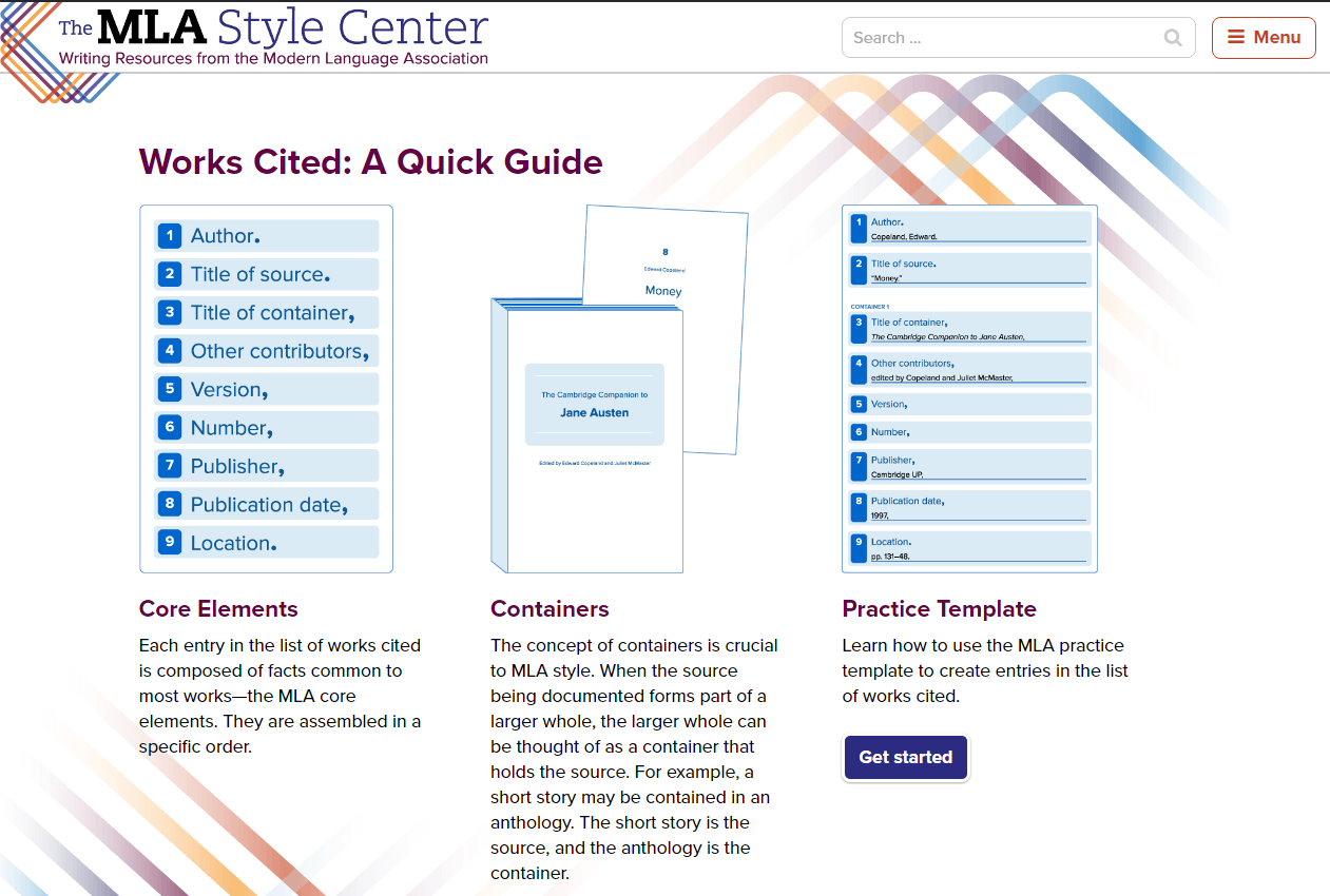 MLA Style Guide home page screenshot