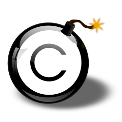 bomb with copyright symbol in the middle clipart