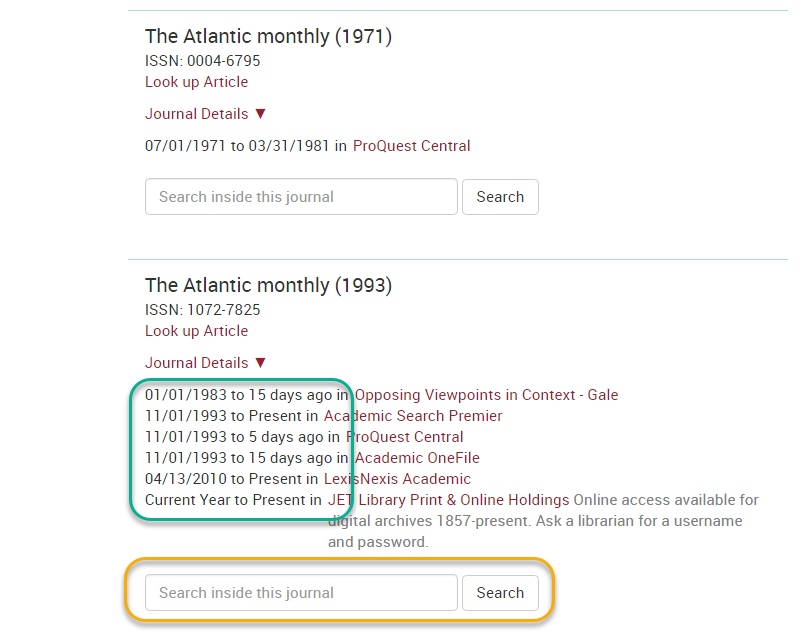 Atlantic monthly multiple databases results