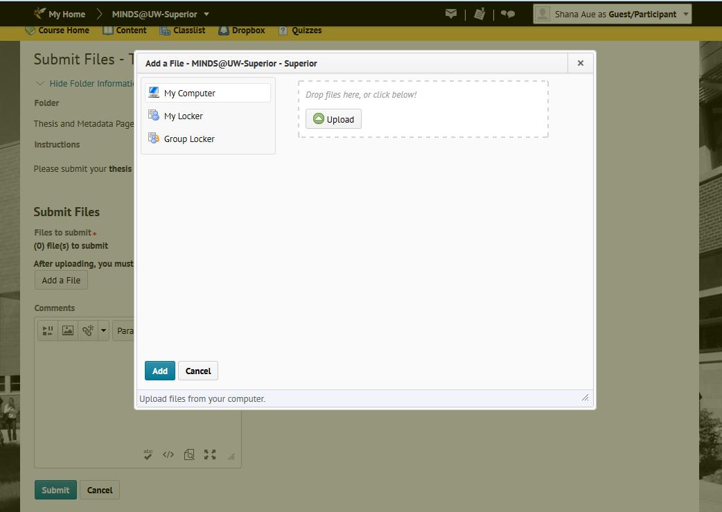 Screenshot of the Dropbox 'Add a File' Page.