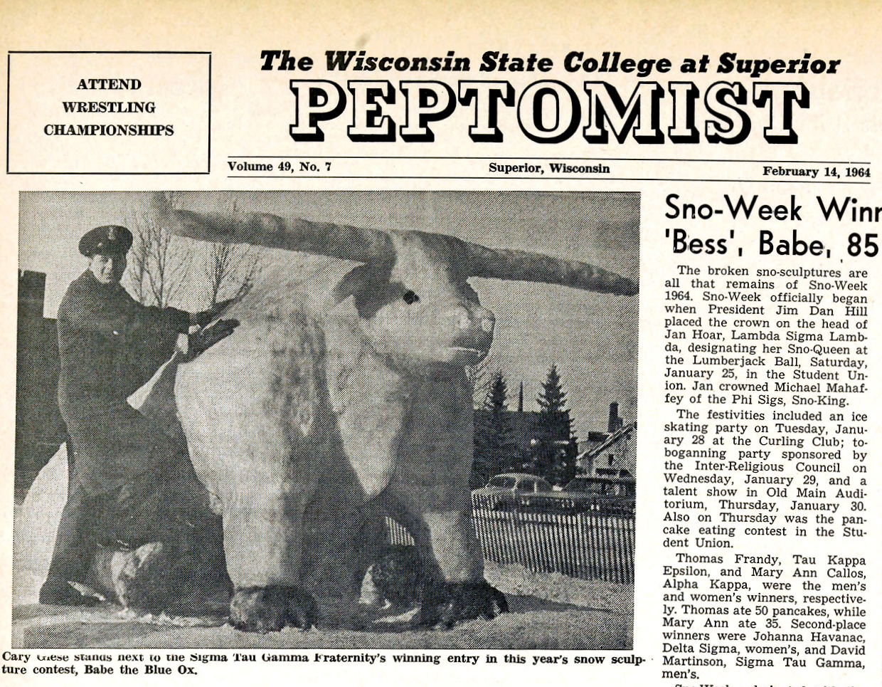 Cover of a student newspaper from 1964 showing a snow sculpture of an ox