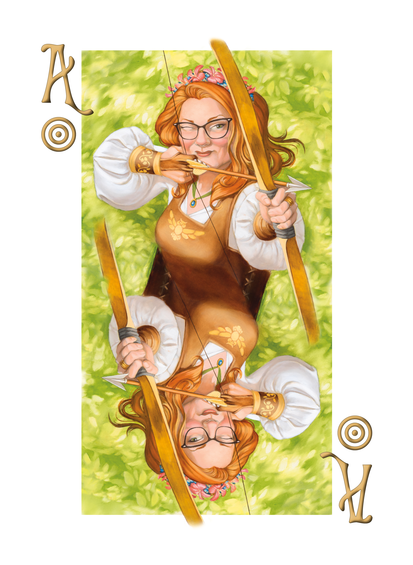 "Amy Rustic business card showing her as the ""ace of answers"" using a bow and arrow and aiming at the right information"