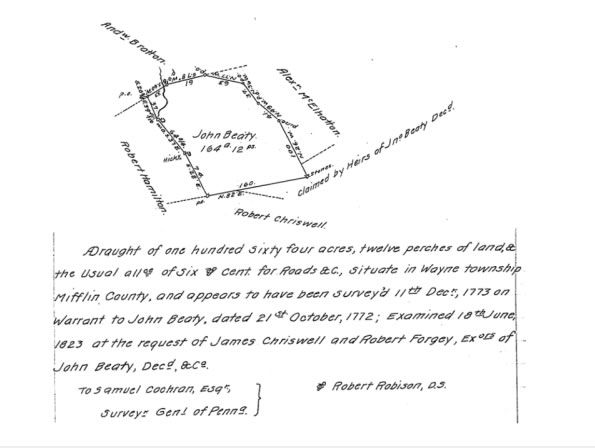 Wayne township survey map 1772