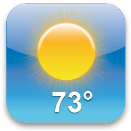 Icon showing a sunny sky and 73 degree temperature