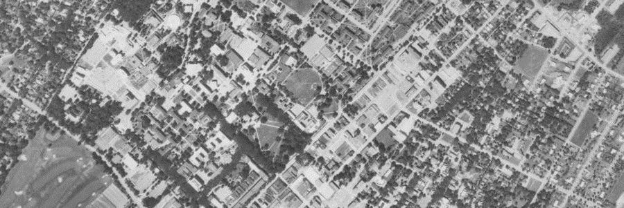 Aerial photo of the state college area in 1971