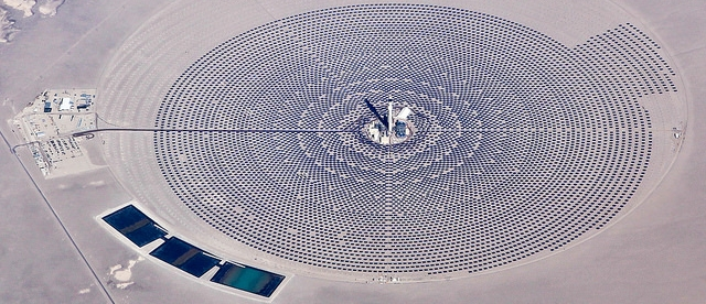 aerial view of a solar energy plant in Nevada