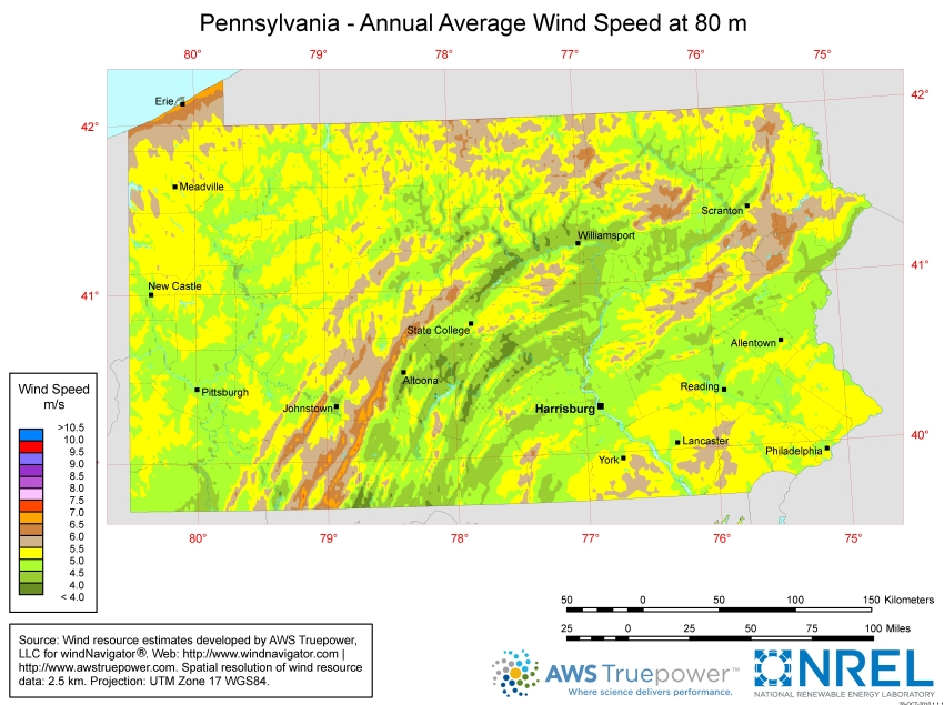 map showing wind speed in pennsylvania
