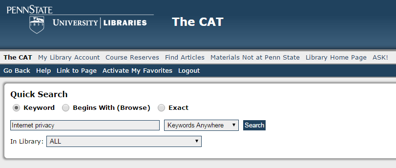type tkeywords into The CAT search box