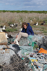 researcher at albatross nest with debris