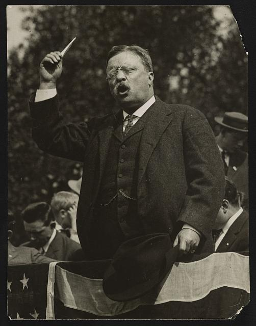 Theodore Roosevelt making a speech