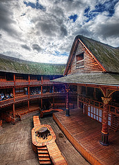 Shakespeare's Globe Theater with cloudy sky