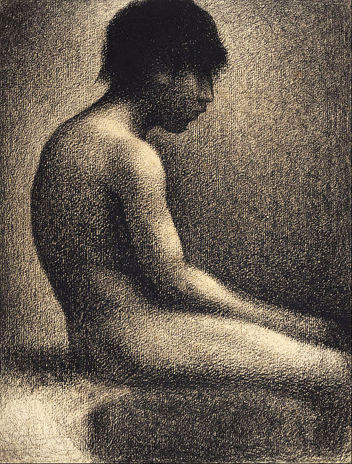 Georges Seurat, Seated Nude- Study for 'Une Baignade', drawing, 1883, conte crayon on cream paper
