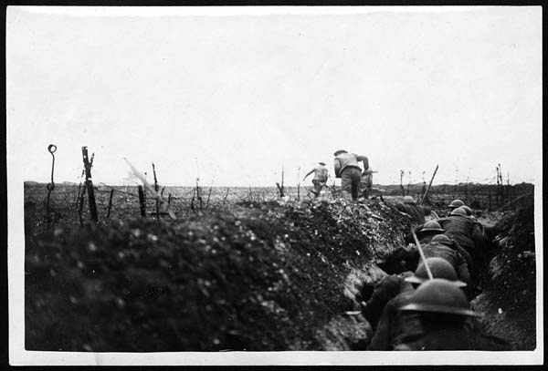 Raiding Party Getting Clear of a Sap and Racing towards the Boche Trenches - First World War 'Official Photographs'
