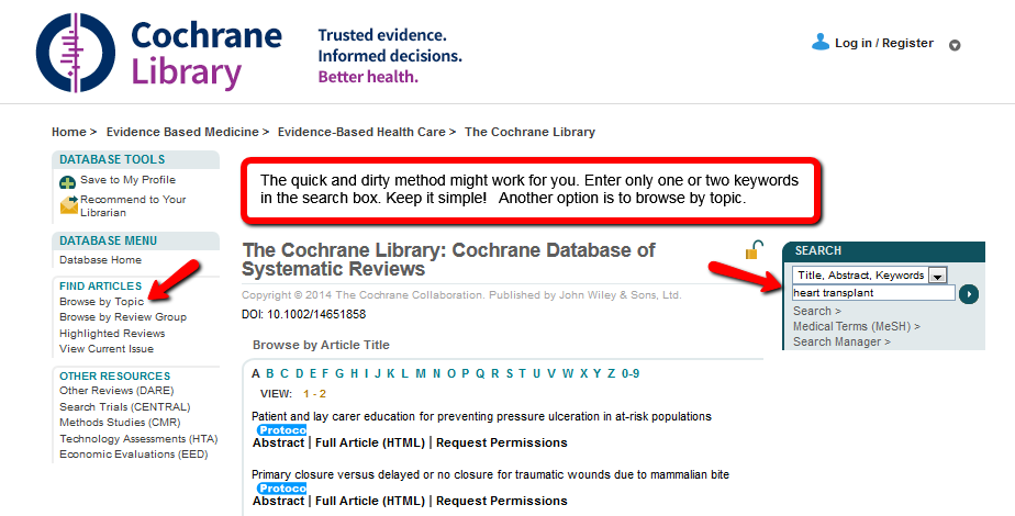 Image of a quick search in the Cochrane Database