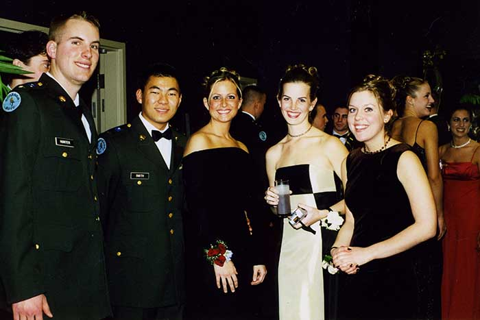 Military Ball; (L to R) Michael Hunter, Micah Smith, unknown, Sarah Sharp, unknown, 2002