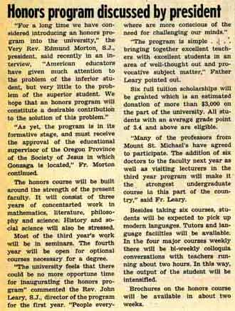 """Honors Program discussed by president"" from The Bulletin, May 16, 1958 p. 1"