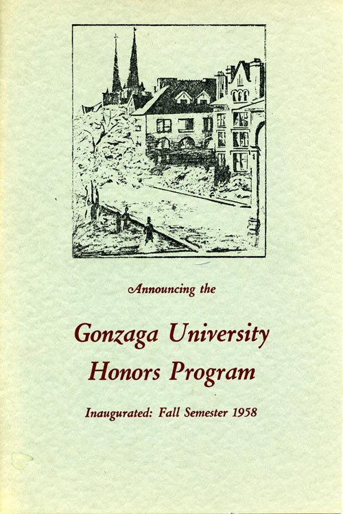 "Brochure ""Announcing the Gonzaga University Honors Program 1958."" Cover"
