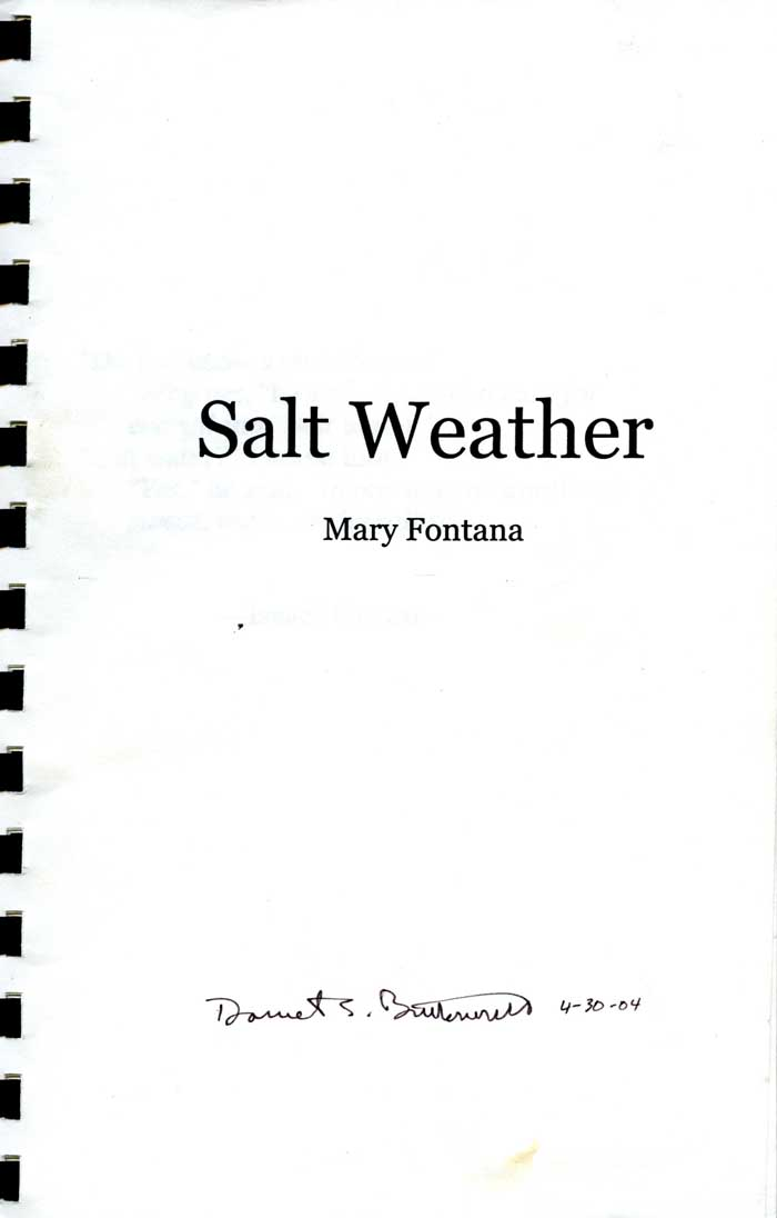 """Salt Weather,"" Mary Fontana, BS Honors Biology, class of 2004."