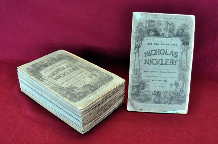 Original Installments by Charles Dickens: Dickens, Charles. The Life and Adventures of Nicholas Nickleby. London: Chapman and Hall, 1838-1839.