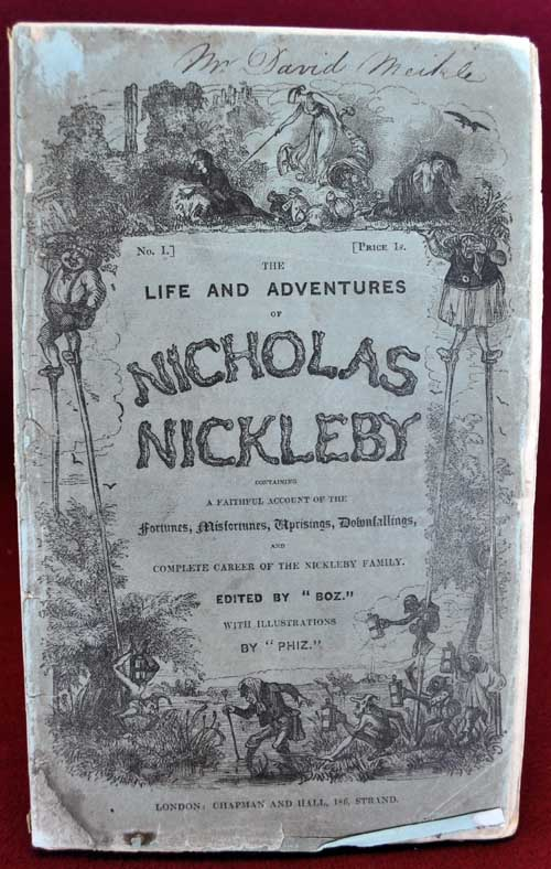 Cover of the first installment of Nicholas Nickleby.
