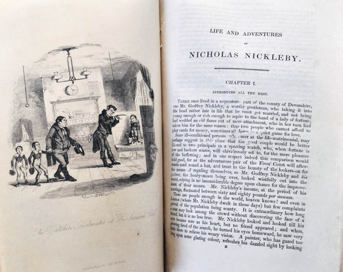 Illustration within the first installment of Nicholas Nickleby and the beginning of the first chapter