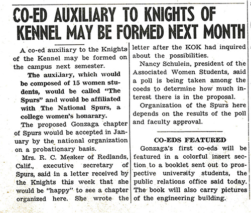 """Co-ed Auxiliary to Knights of the Kennel May Be Formed Next Month,"" Bulletin, Dec. 3, 1948."