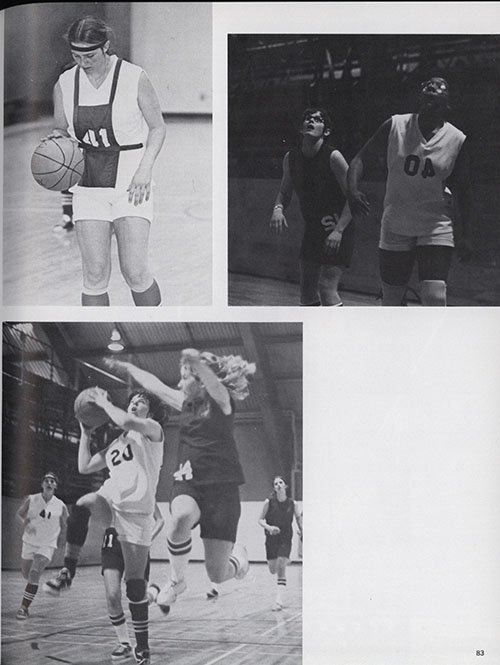"part 2/2: ""Femme Fatales Court Victories to Capture League Title,"" Spires Yearbook, 1973."