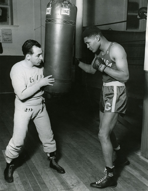 Boxing Coach Joey August and Carl Maxey, 1949.