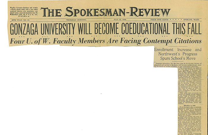 """Gonzaga University Will Become Coeducational This Fall,"" The Spokesman-Review, July 22, 1948."