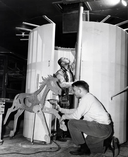 "A carousel horse being built for ""Carousel"" in 1966."