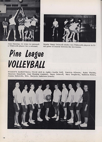 "part 1/2: ""Pine League Basketball and Volleyball,"" Spires, 1964."