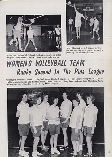 "part 2/2: ""Pine League Basketball and Volleyball,"" Spires, 1964."
