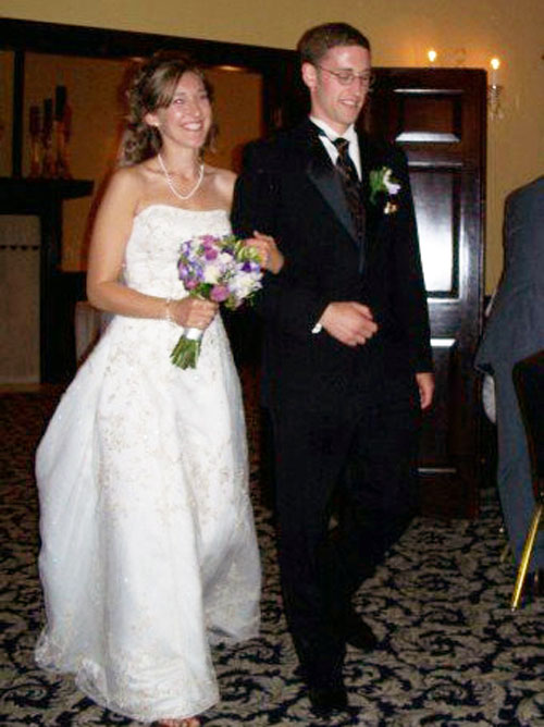 Chelsea McCarthy, BA Honors History, and Paul Forester, BA Honors Math and History, Pre-Law, class of 2007, at their wedding in 2007.