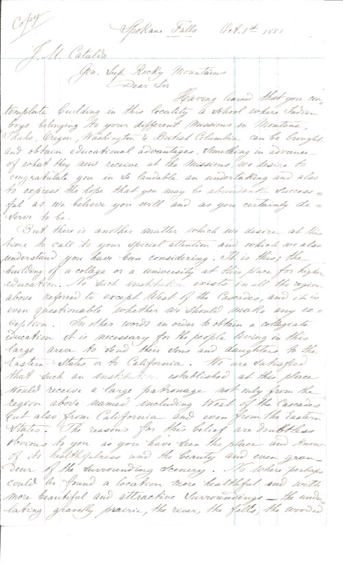First Page of Letter from Spokane Falls