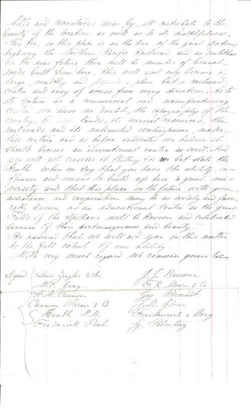 Second Page of Letter from Spokane Falls