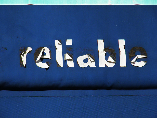 The word reliable. The letters that make up the word are starting to fall off.