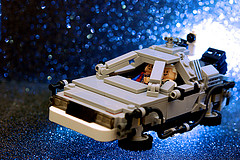 Lego homeage to the Back to the Future movie. DeLorean flying in the sky.