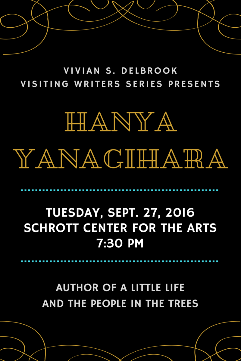 Hanya Yanagihara, author of A Little Life and The People in the Trees, will be at Butler's campus on Tuesday September 27th in the Schrott Center for the Arts, 7:30pm.