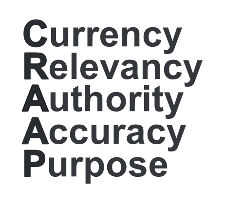 Currency, Relevancy, Authority, Accuracy, Purpose