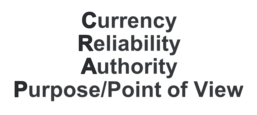 Currency, Reliability, Authority, Purpose and Point of View