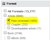 Peer review limiter in WorldCat Discovery search