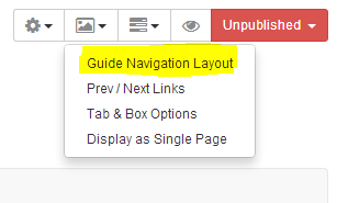 Screenshot of Guide Navigation Layout option to select Side Navigation instead of Tabbed