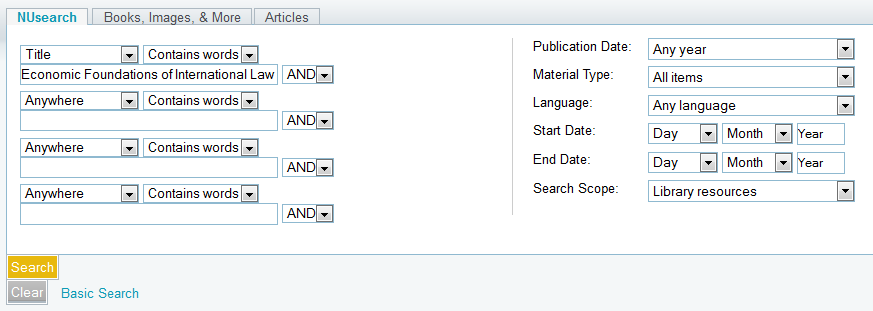 NUsearch catalog search screen