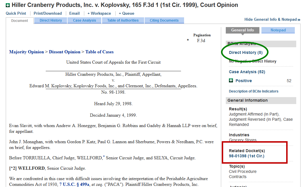 Bloomberg Law - Researching Dockets - Research Guides at